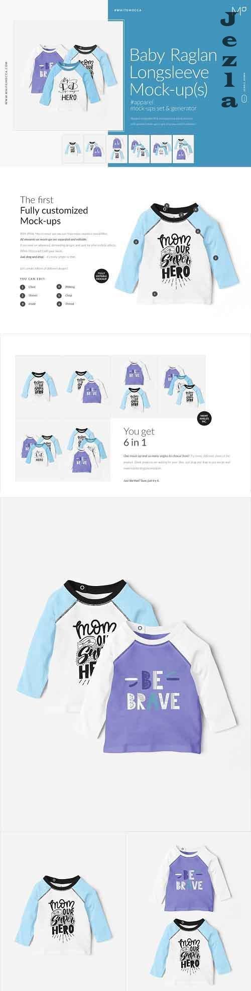 CreativeMarket - Baby Raglan Longsleeve Mock-ups Set 4548234