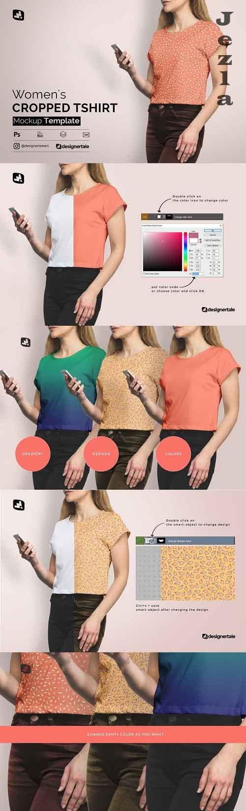 CreativeMarket - Women's Cropped Tshirt Mockup 4728864