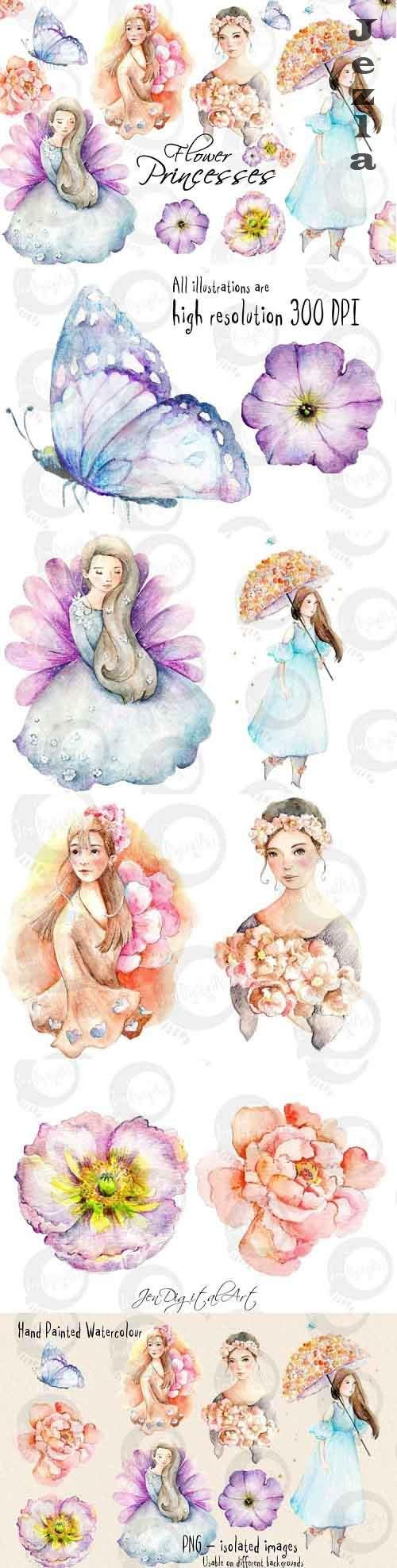 Flower Princesses | Watercolor Illustrations - 1022232