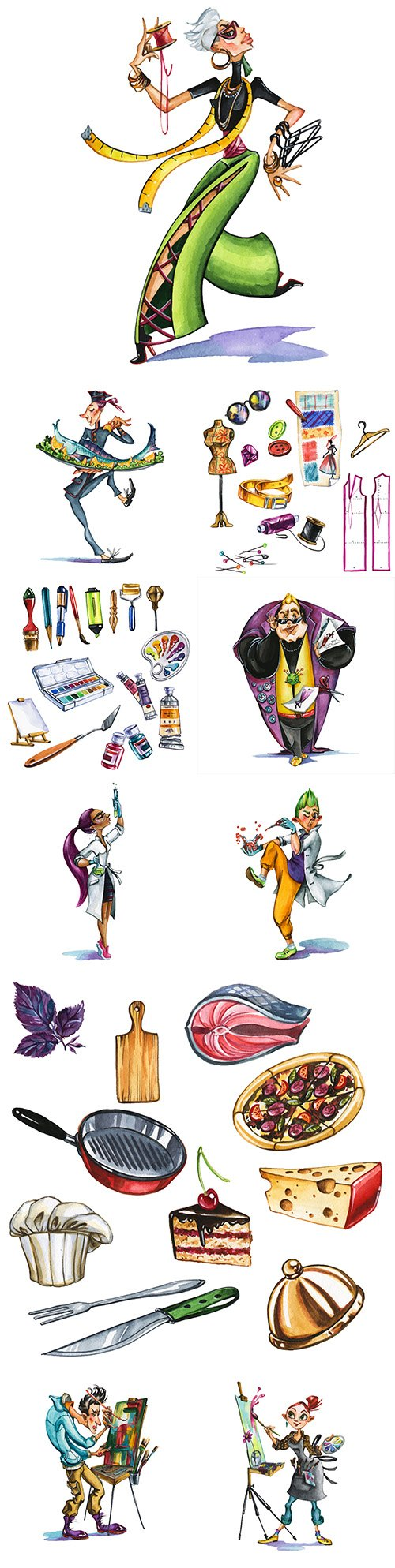 Cartoon characters of different professions and subjects watercolor illustrations