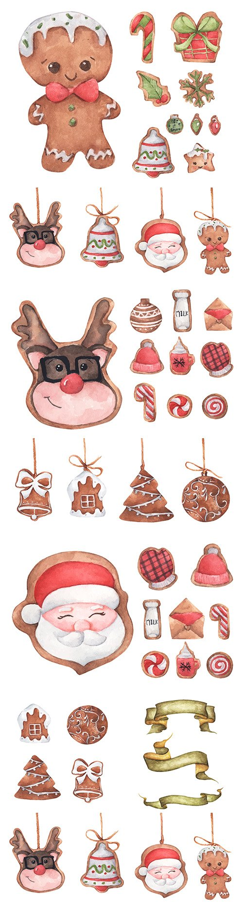 Cute Christmas gingerbread and watercolor cookies illustration