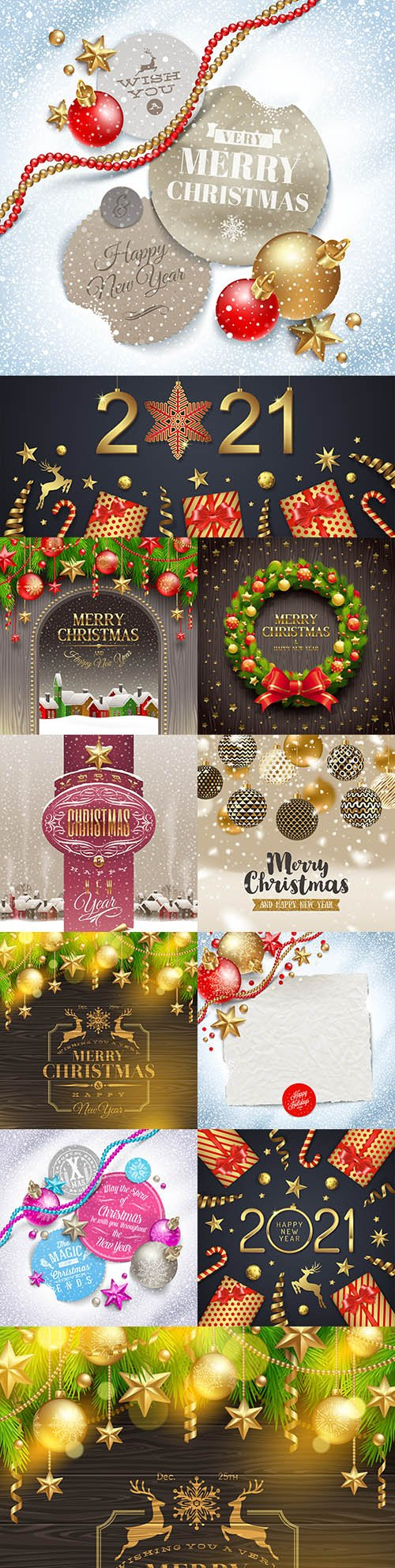 Christmas card decorative congratulations on New Year 2021