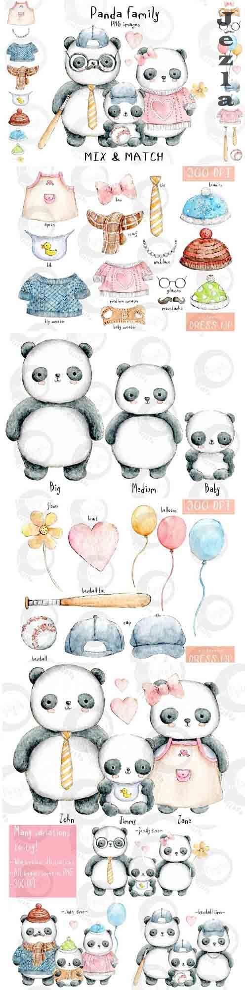 Panda Family | Mix & Match | PNG Watercolour Illustrations - 1034418