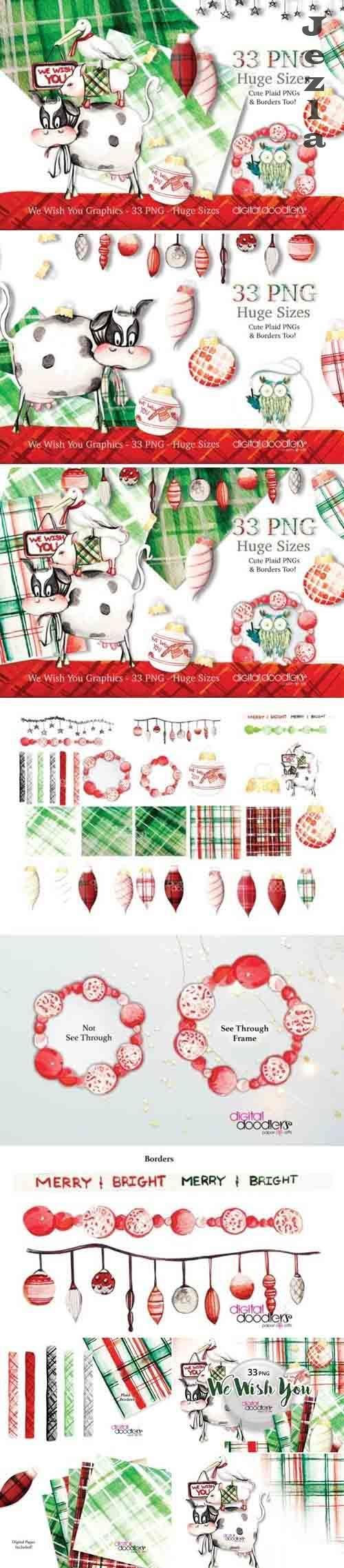 We Wish You -  Watercolor Christmas Graphic - 385181