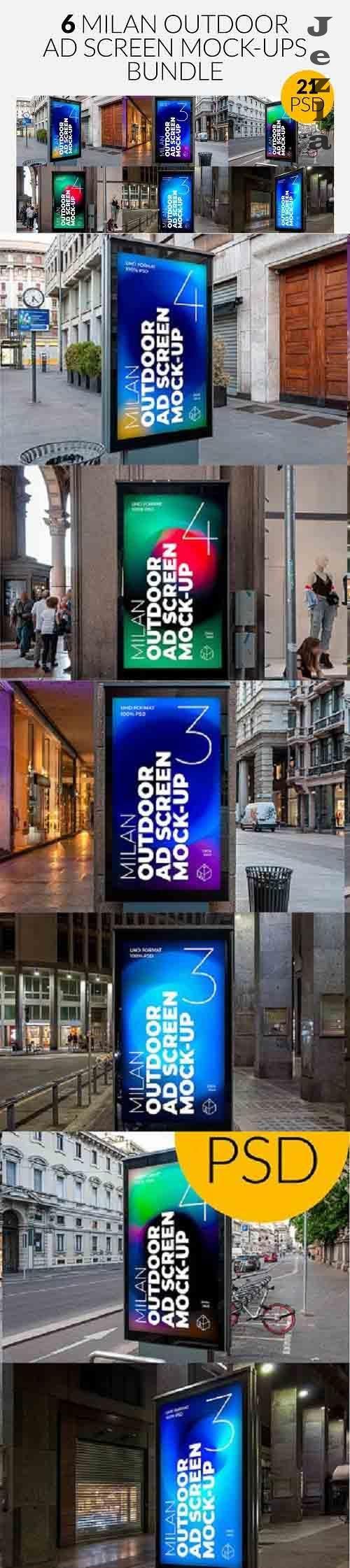 CreativeMarket - Milan Outdoor Ad Screen MockUps Set 5471499