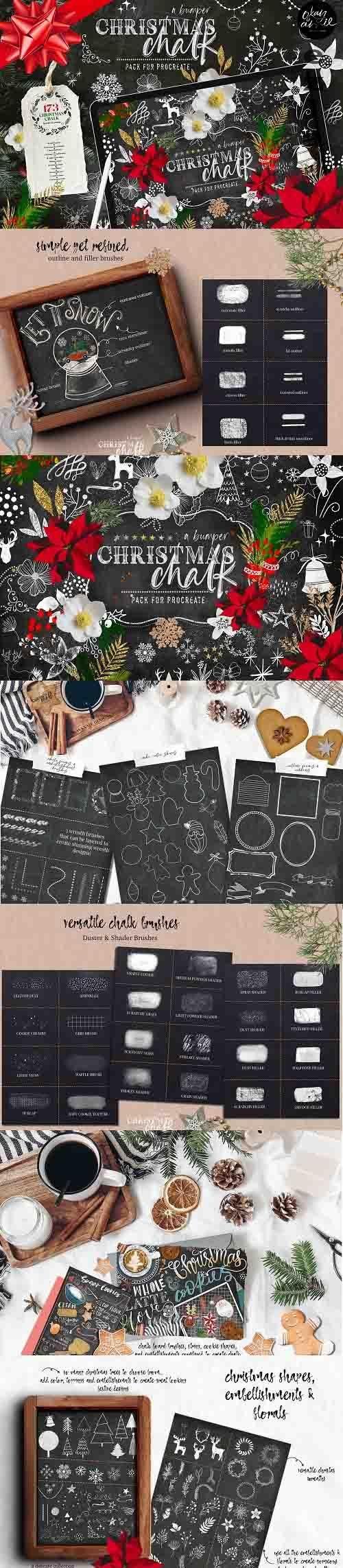 Christmas Chalk Procreate Brushes - 5610467