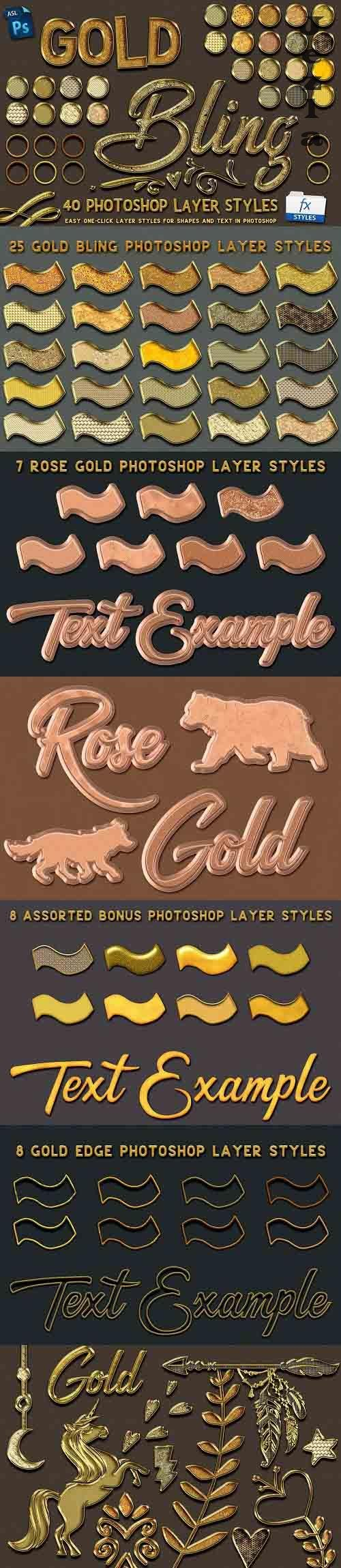 CreativeMarket - Gold Bling Photoshop Layer Styles 5115006