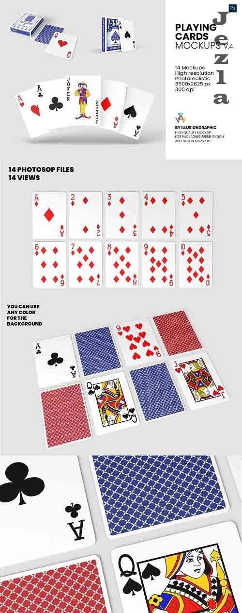 Playing Cards Mockups v4 - 14 Views - 5582523