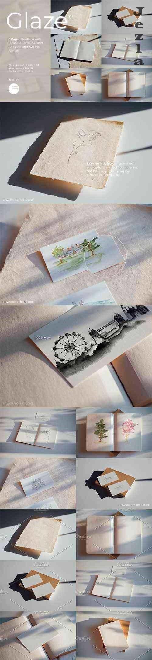 CreativeMarket - Glaze Paper Mockups Set 01 5000601