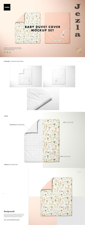 CreativeMarket - Baby Duvet Cover Mockup Set 5258283