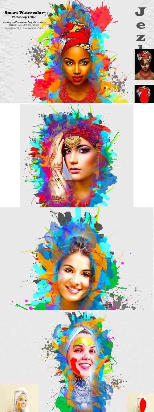 CreativeMarket - Smart Watercolor Photoshop Action 5241570