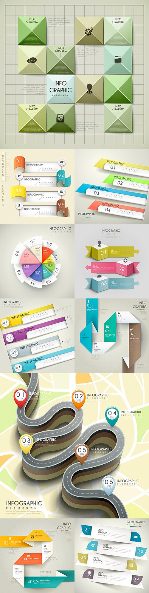 Business infographics options elements collection 160
