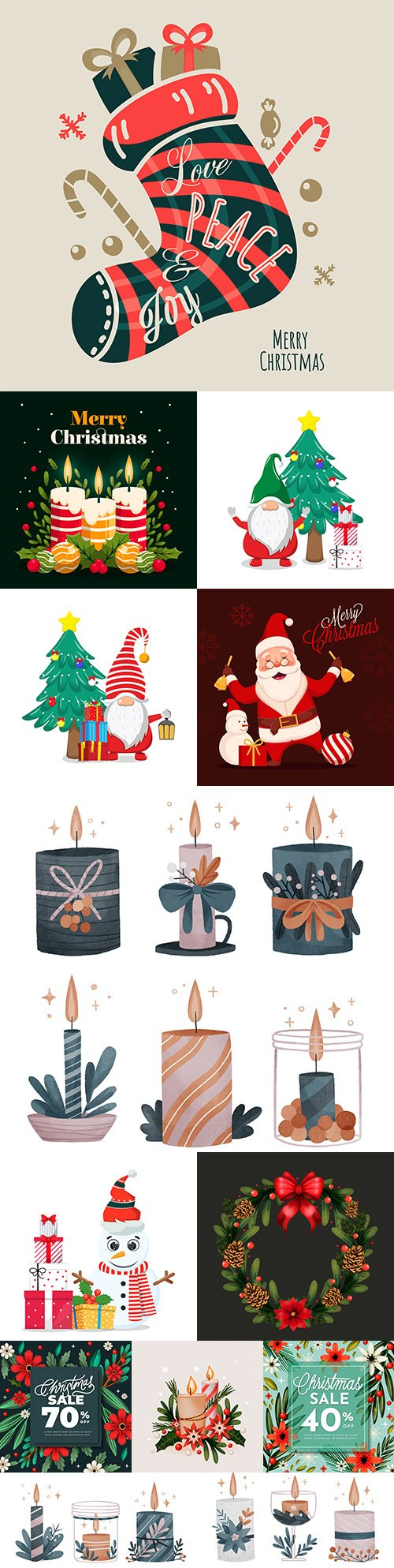 Christmas and New Year background flat illustration design