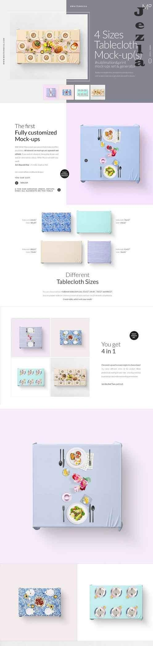 CreativeMarket - Tablecloth 4x Sizes Mock-ups Set 4821577