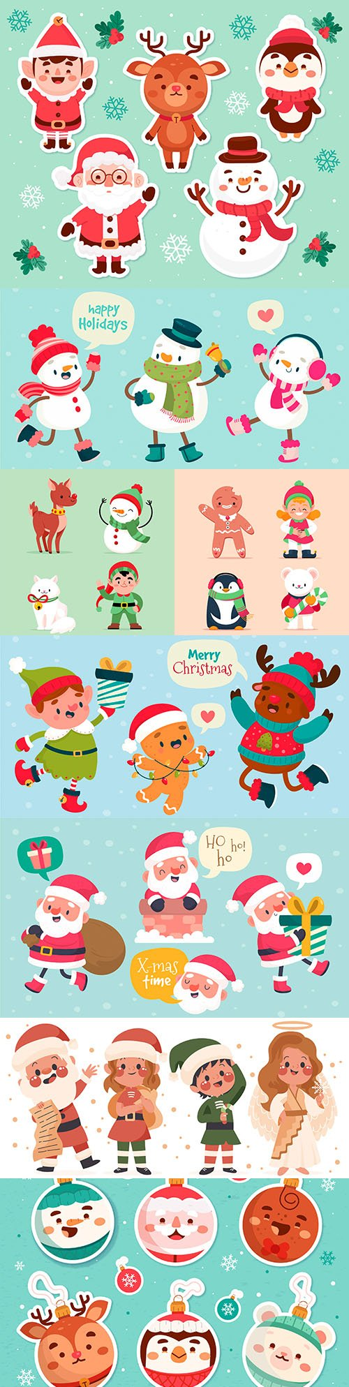 Collection of painted Christmas characters and cartoon design icons