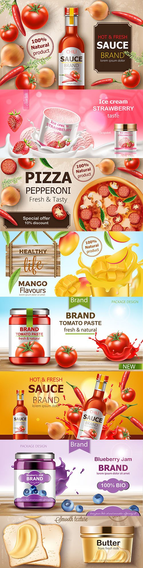 Design advertising 3d illustrations of desserts and sauces