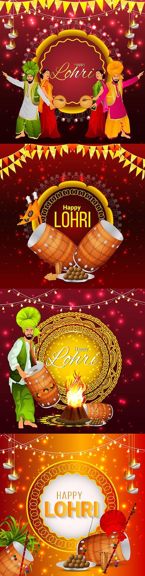 Happy Lohri Indian festival decorative illustration