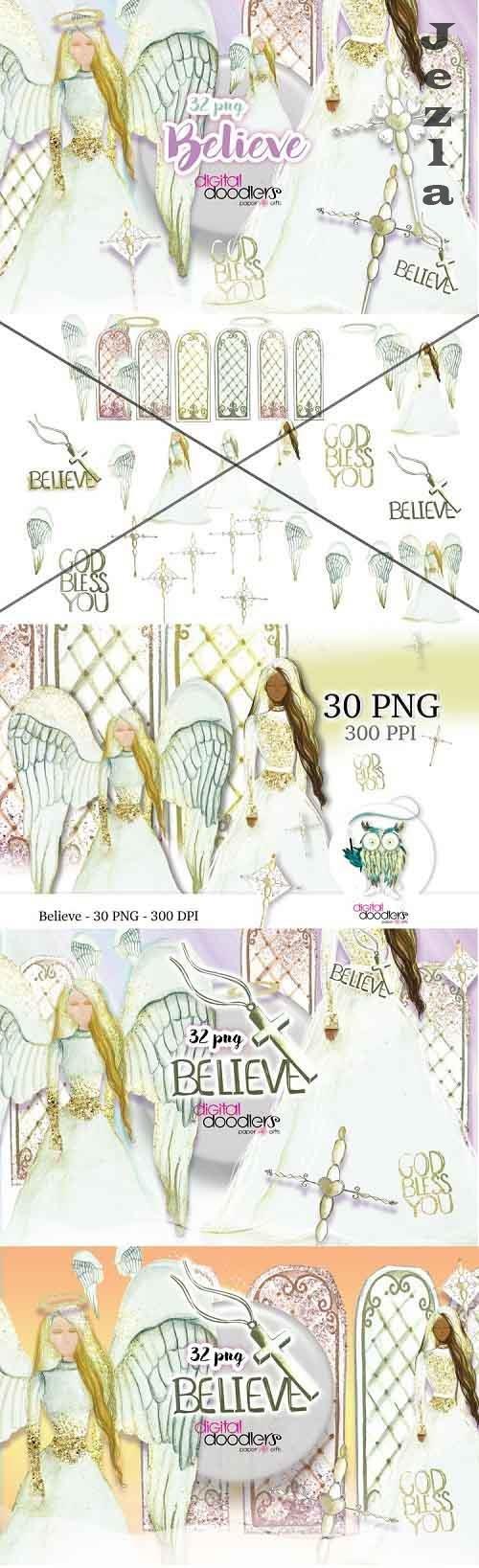 Believe Angel Watercolor Graphics - 254940