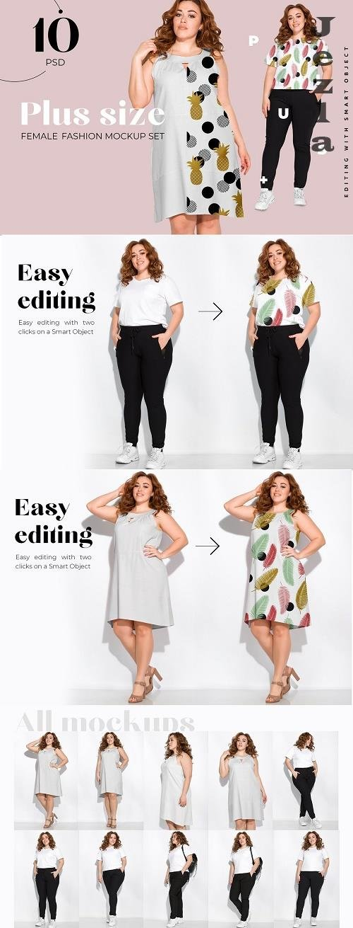 CreativeMarket - Plus Size Woman Fashion Mockups 5002907