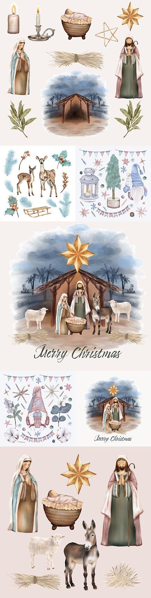 Christmas set Baby Jesus and Virgin Mary Illustration