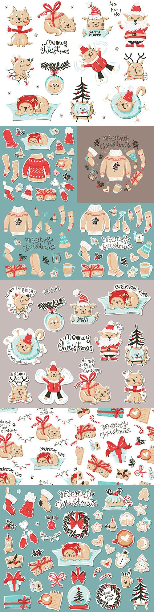Fun animal label set with Christmas elements design