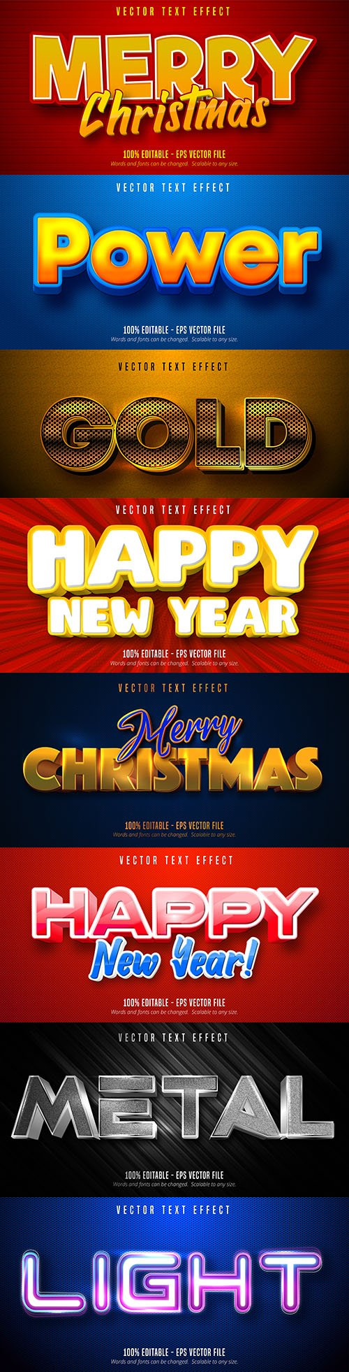 Merry Christmas editable font effect text collection illustration design 2