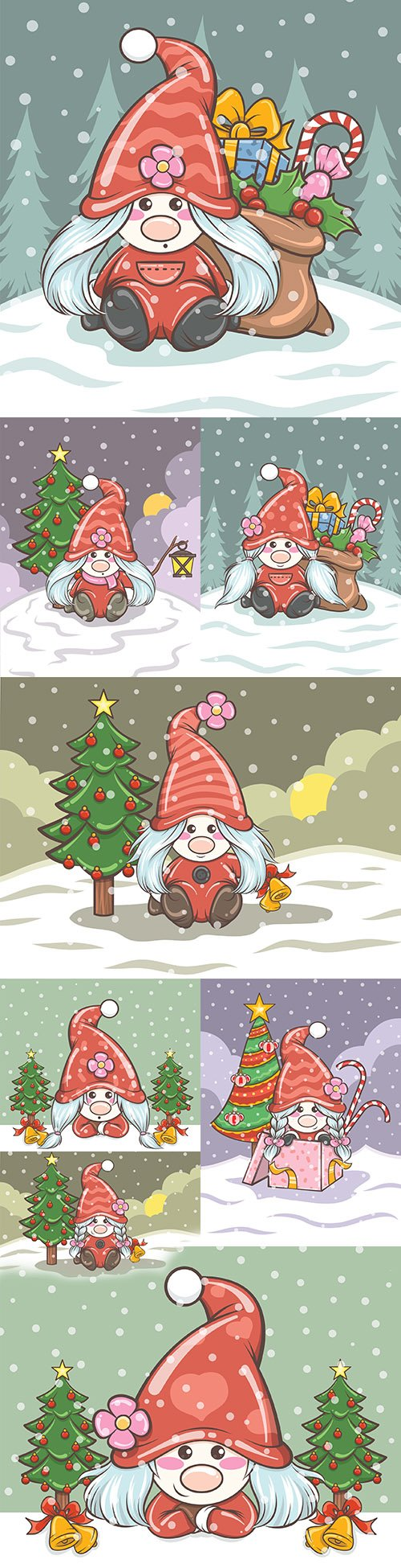Sweet girl gnome with gifts Christmas illustration