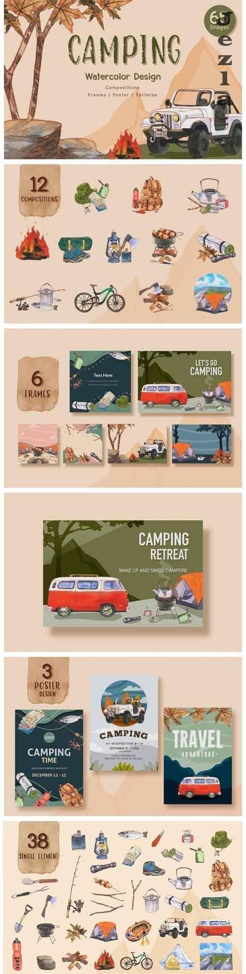 Camping Travel Watercolor - 5265190