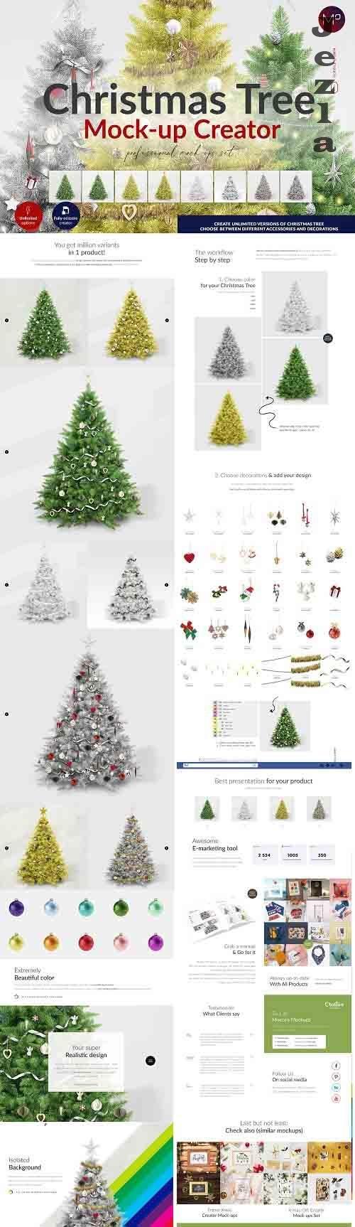 CreativeMarket - Christmas Tree Creator Mock-up 5580357