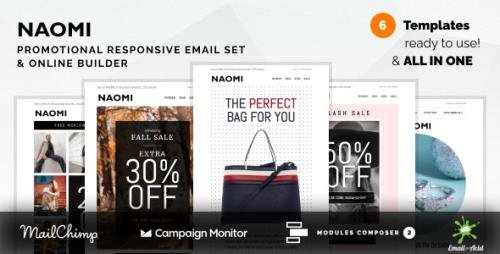 ThemeForest - Naomi v1.0.0 - Promotional Email Templates Set with Online Builder (Update: 20 November 20) - 29398203