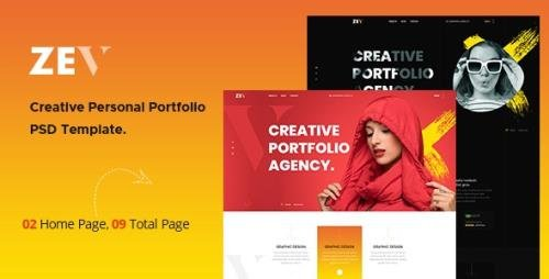 ThemeForest - Zev v1.0 - Creative Personal Portfolio PSD Template - 29300330