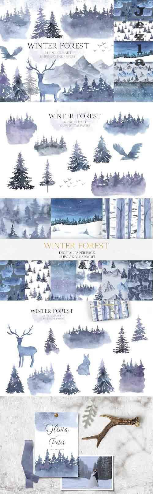 Watercolor Winter Forest Set - 5633566