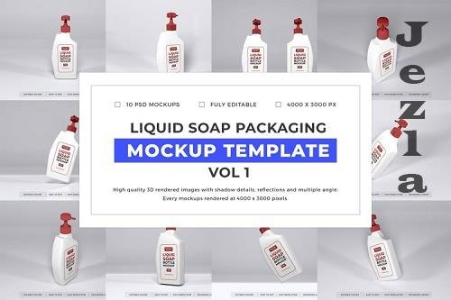 Liquid Soap Packaging Mockup Template Bundle Vol 1 - 1050703