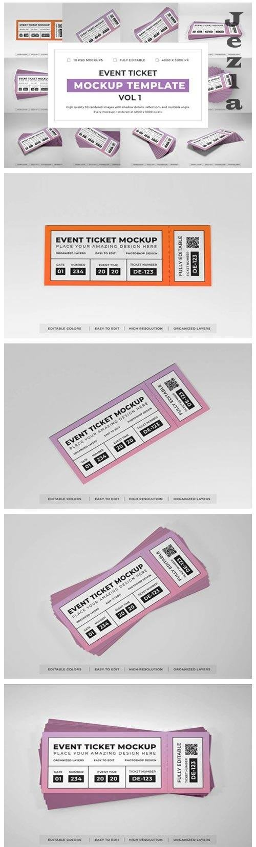 Event Ticket Mockup Template Bundle Vol 1 - 1052618