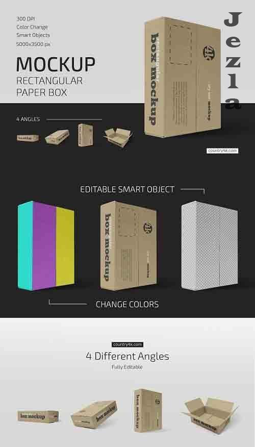 CreativeMarket - Rectangular Paper Box Mockup Set 5636839