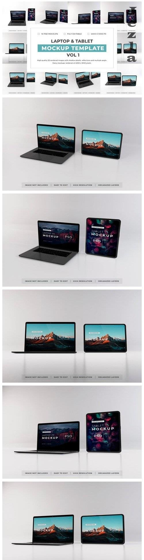 Laptop and Tablet Mockup Template Bundle Vol 1 - 1053021