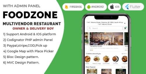 CodeCanyon - FoodZone v4.0.0 - Multivendor Mobile Application in Flutter with PHP Admin Panel + store owner + delivery boy - 26497811