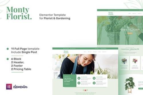 ThemeForest - Monty Florist v1.0.0 - Flower Boutique & Decoration Elementor Template Kit - 29407386