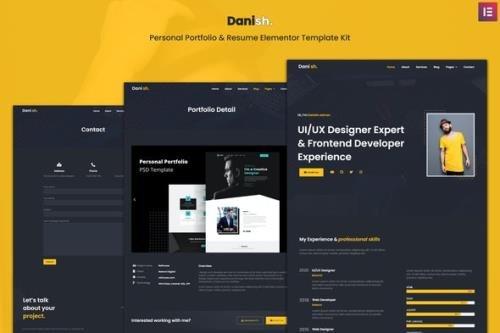 ThemeForest - Danish v1.0.0 - Personal Portfolio Resume Elementor Template Kit - 29360682