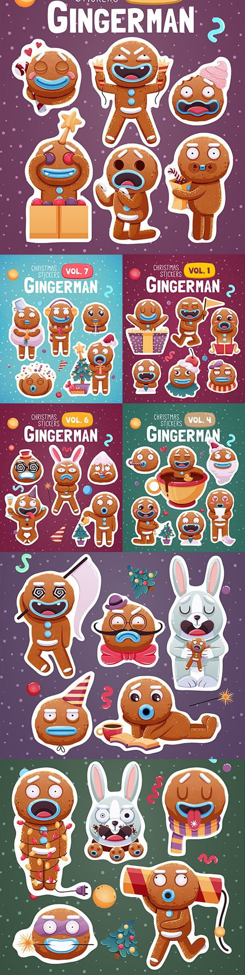 Merry Christmas set stickers or magnets festive souvenirs