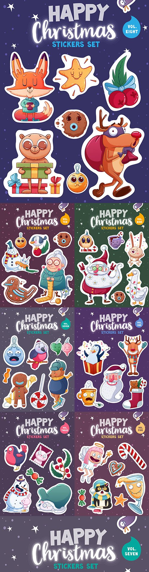 Merry Christmas set stickers or magnets festive souvenirs 2