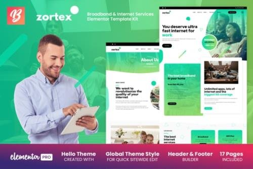 ThemeForest - Zortex v1.0.0 - Broadband & Internet Services Elementor Template Kit - 29453113