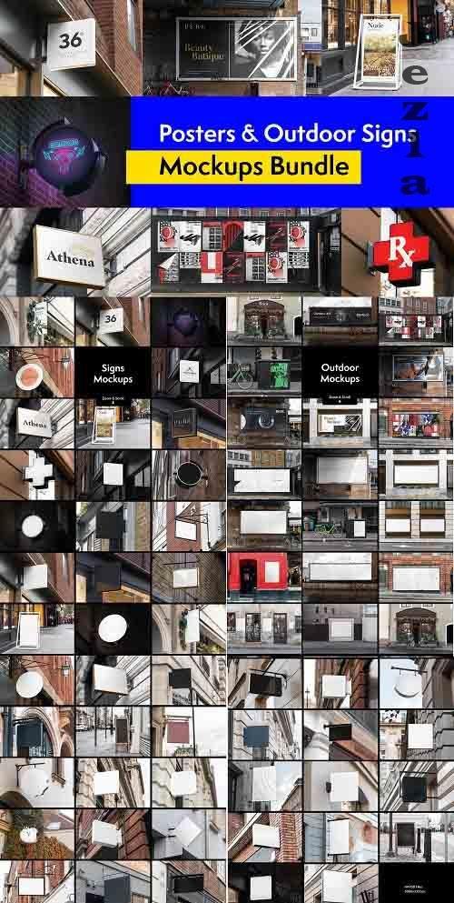 CreativeMarket - Posters and Signs Mockups Bundle 4262932