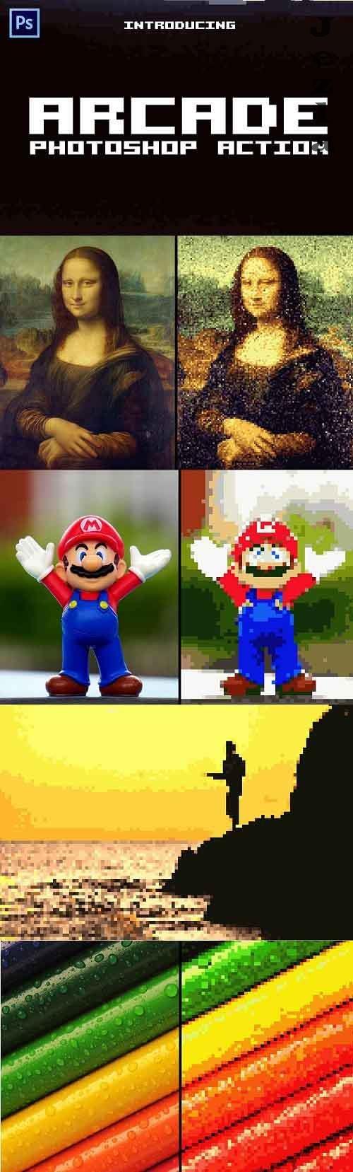 Arcade 8-bit Pixel Photoshop Action - 5656235