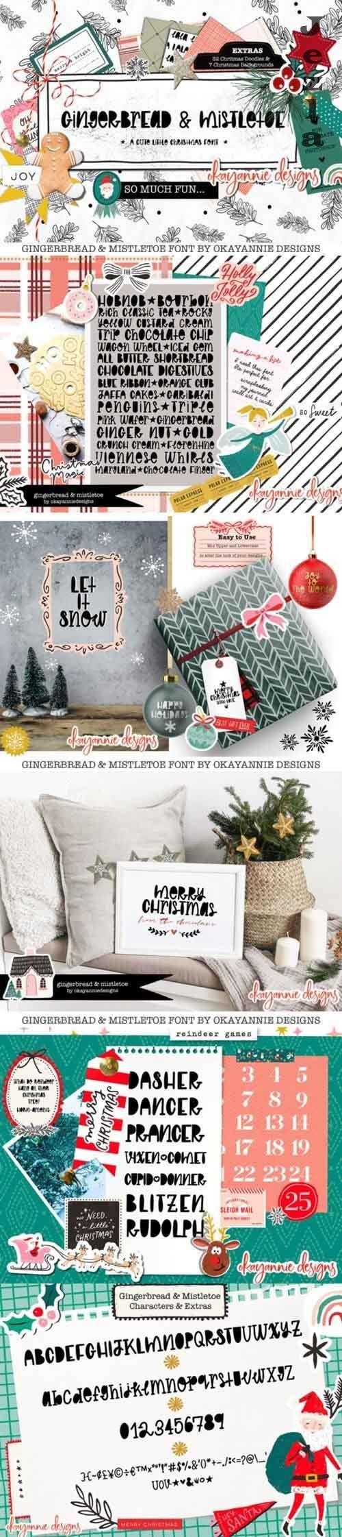 GingerBread & Mistletoe Font&Extras - 5650614