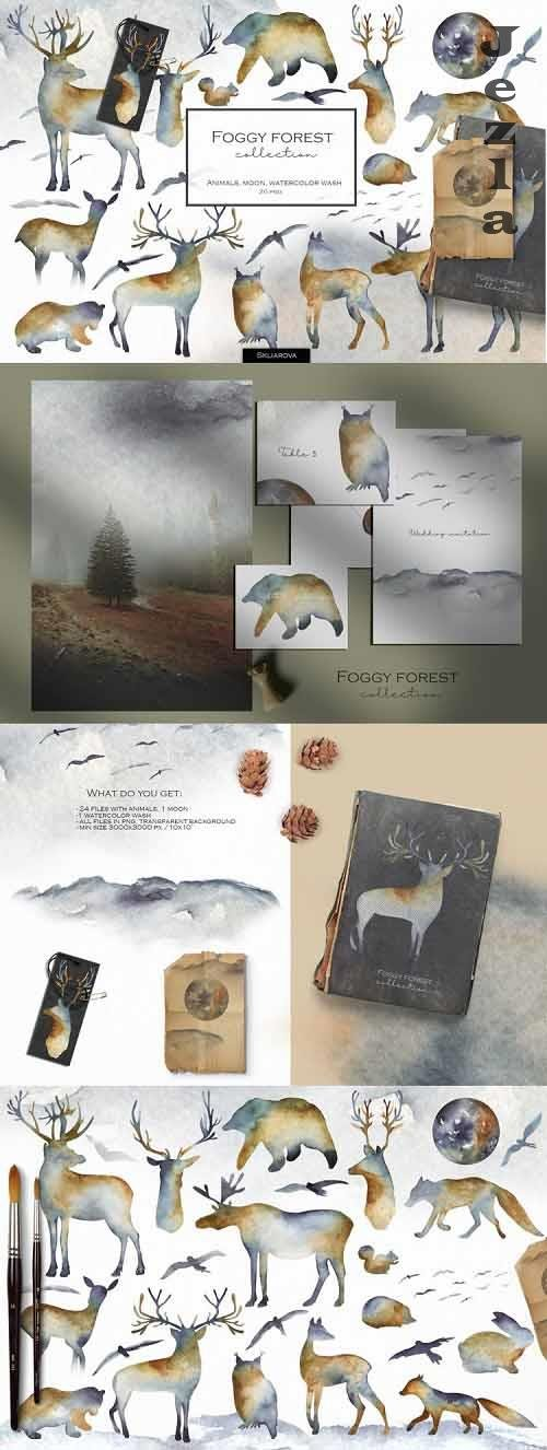 Foggy forest collection. Watercolor animals - 1052125