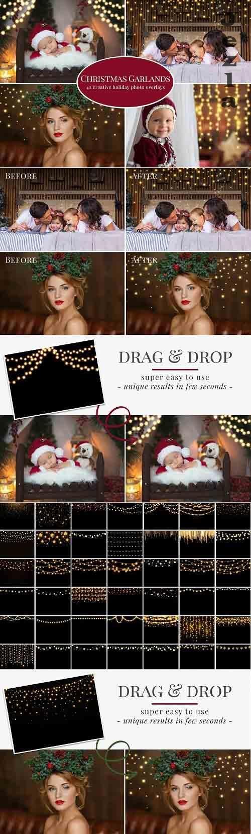 CreativeMarket - Christmas Garlands photo overlays 5608034