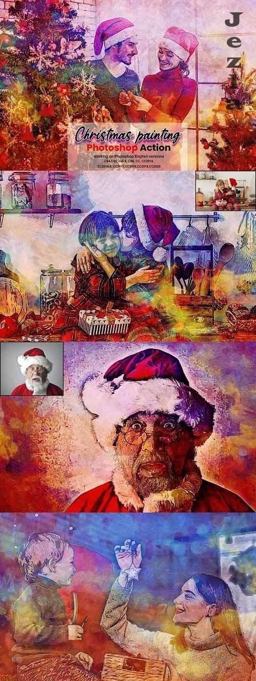 CreativeMarket - Christmas Painting Photoshop Action 5636427