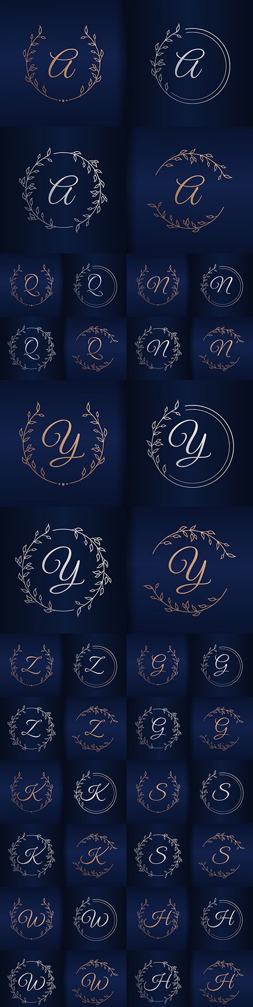 Capital letter floral decorative frame alphabet 3