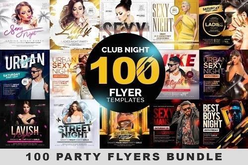 CreativeMarket - 100 Night Club Party Flyers Bundle 4496766